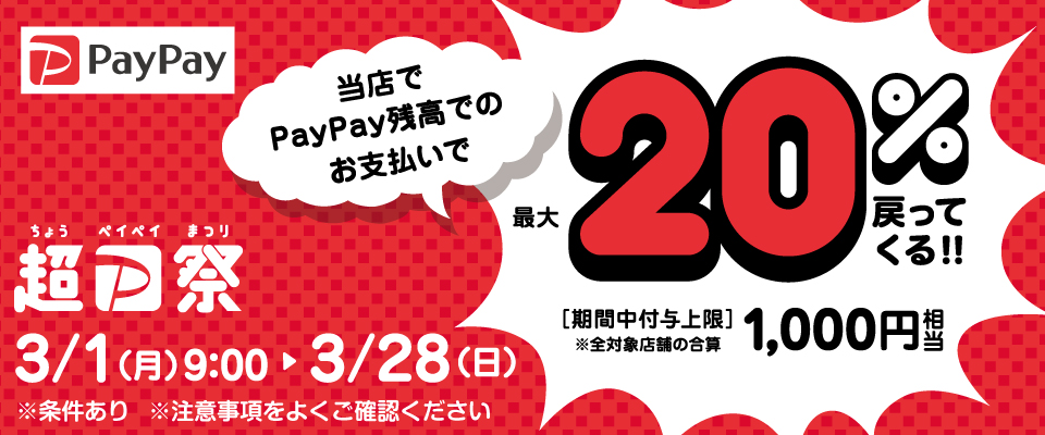 【超PayPay祭】最大20%戻ってくる!!