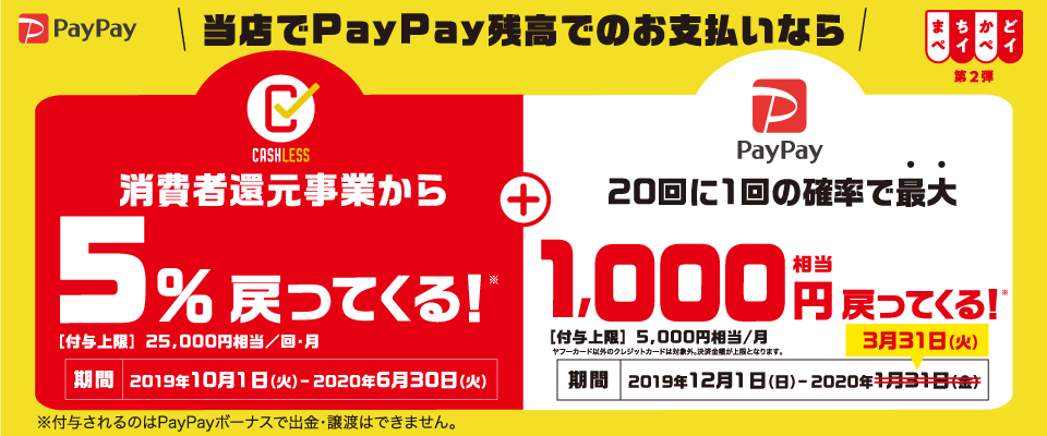 PayPay決済でお得!『まちかどPayPay第2弾』